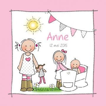 Lief geboortekaartje voor 3e dochter#geboortekaartje #birthannouncement #babykaart