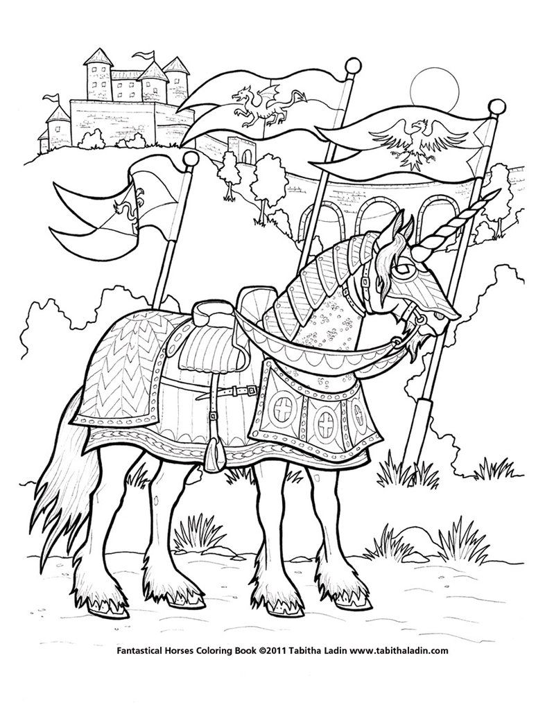 free horse coloring page horse with knight lineart hero sword