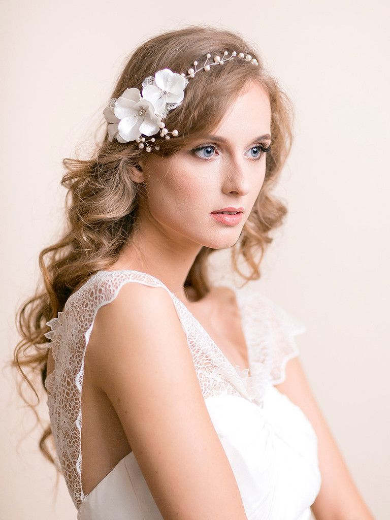 wedding hair vine with blooms   hair adornments in 2019