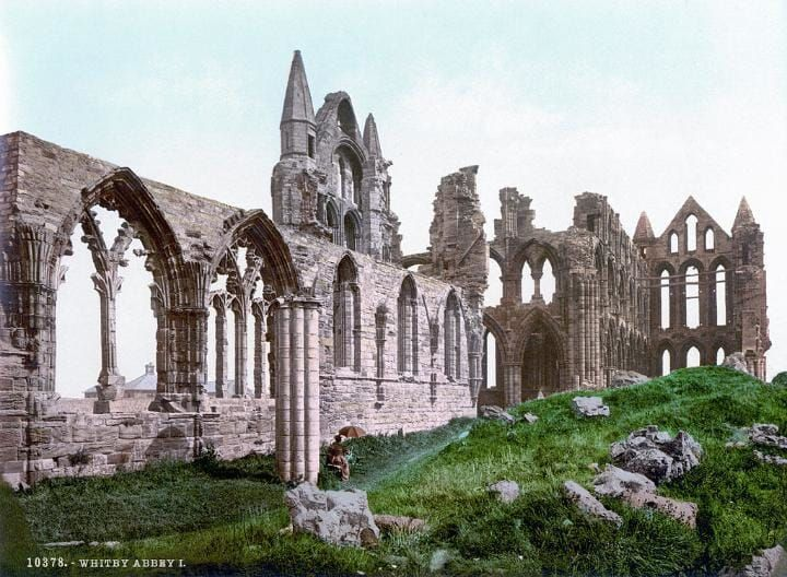 Whitby abbey, Yorkshire. - The first colour photographs of England