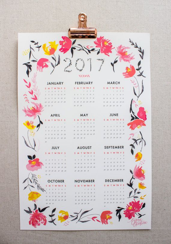 2017 Year at a Glance Calendar - Pink Business Brainstorm - calendar sample design