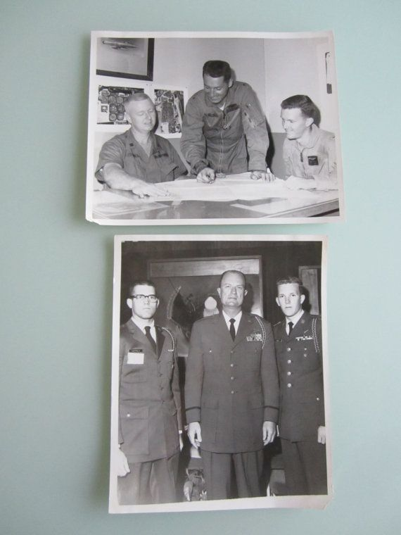 Two 8x10 black and white United States Air Force photographs of a conference room and one with a general in full dress.