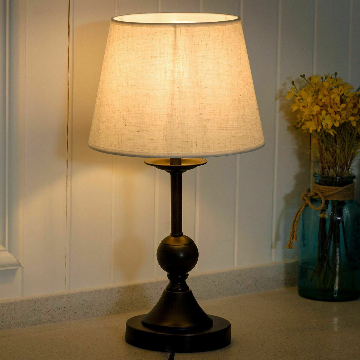 10 Antique Brass Bedside Table Lamp W Led Bulb Office Bedroom