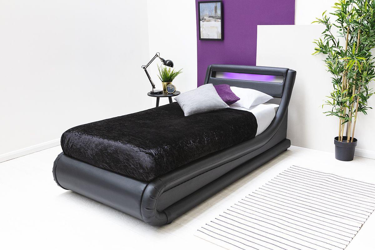 Black Led Lights Headboard Lift Up Ottoman Storage Single Bed