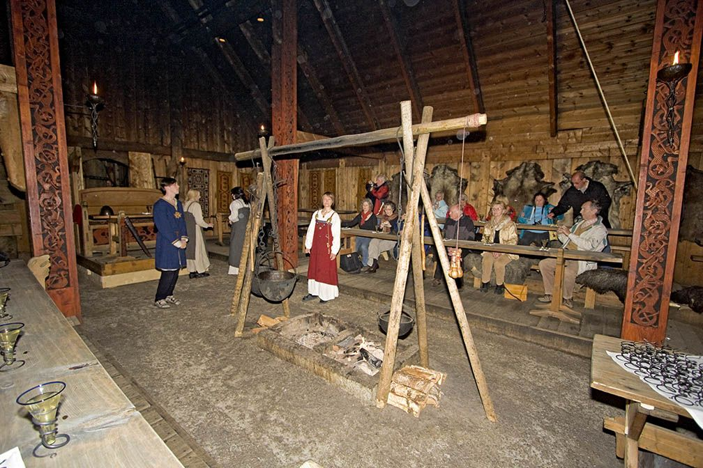 Viking feast at Chieftan's house at the Lofotr Viking Museum in ...
