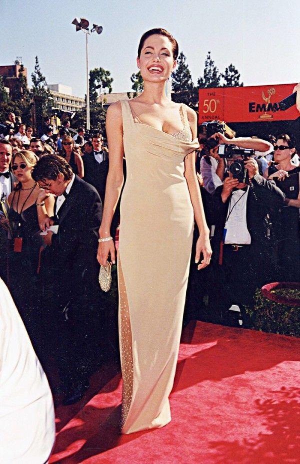 37b5e7753 Angelina Jolie at the 1998 Emmy Awards wearing a Randolph Drake dress