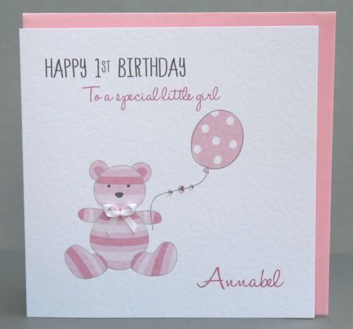 Handmade Personalised Girls 1st Birthday Card Teddy Childrens