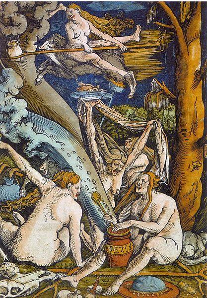 Hans Baldung Grien - Hexen (Witches; woodcut, 1508)