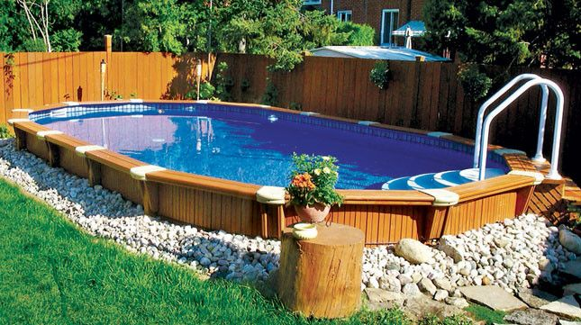 Best Semi Inground Swimming Pools Diy Swimming Pool Backyard Pool Landscaping Backyard Pool