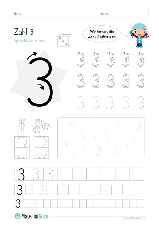 ein kostenloses mathearbeitsblatt zum schreiben lernen