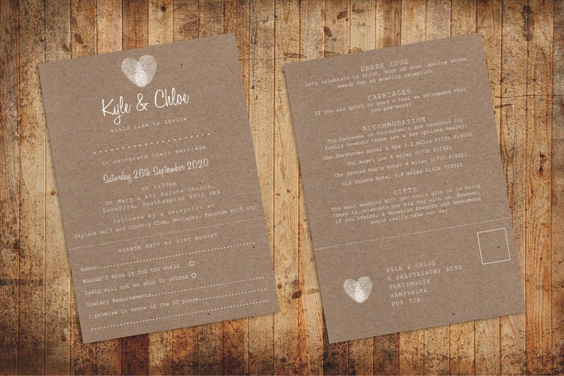 Rustic Fingerprint 3 In 1 Wedding Invitation With Rsvp Info Card In Rustic Kraft Paper With W Wedding Invitations Rsvp Wedding Invitations Wedding Stationery