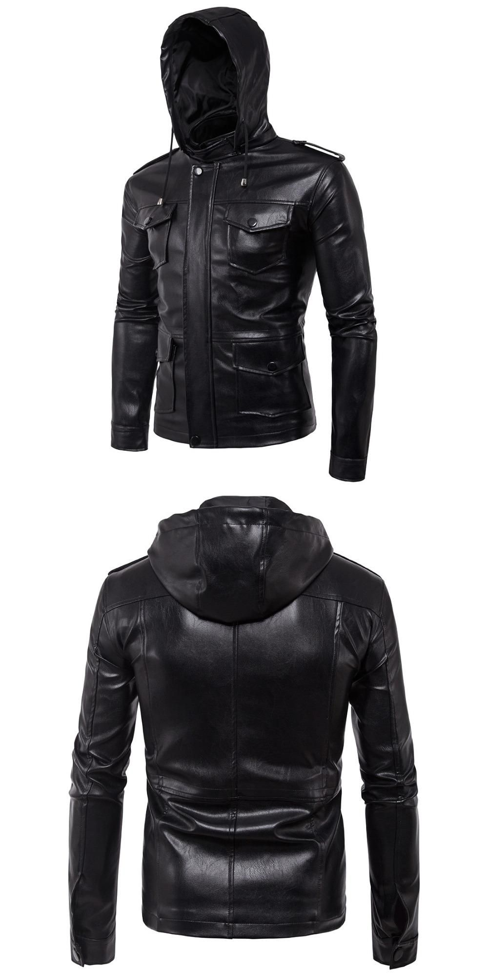 2017 new brand Hooded Coat men leather jacket top quality