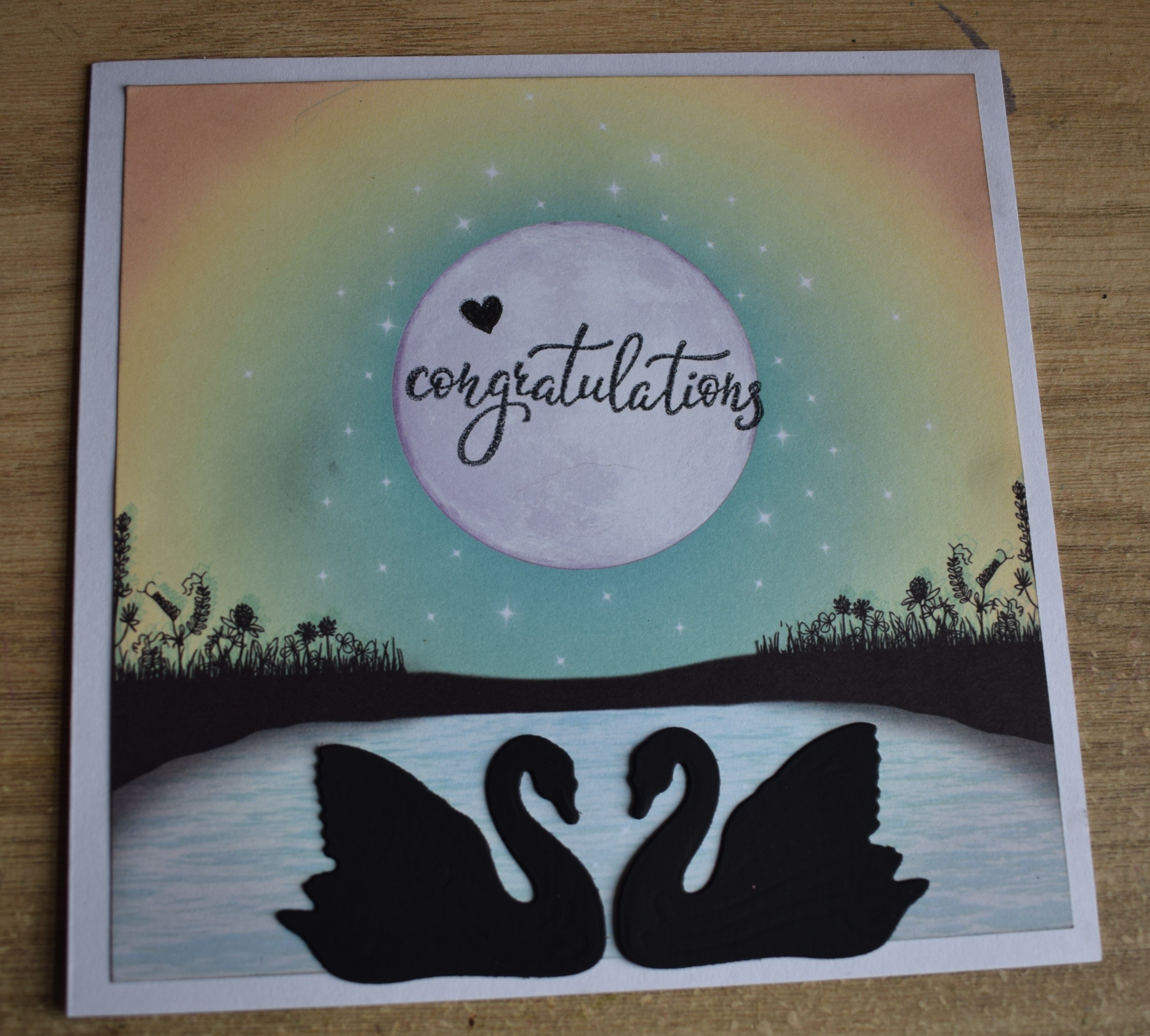 Hunkydory Twilight Kingdom background withpair of swan die cuts ...