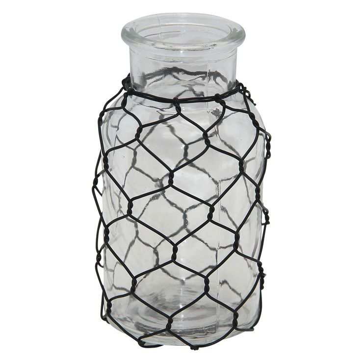 5IN GLASS JAR W CHICKEN WIRE | out door decor | Pinterest | Chicken ...