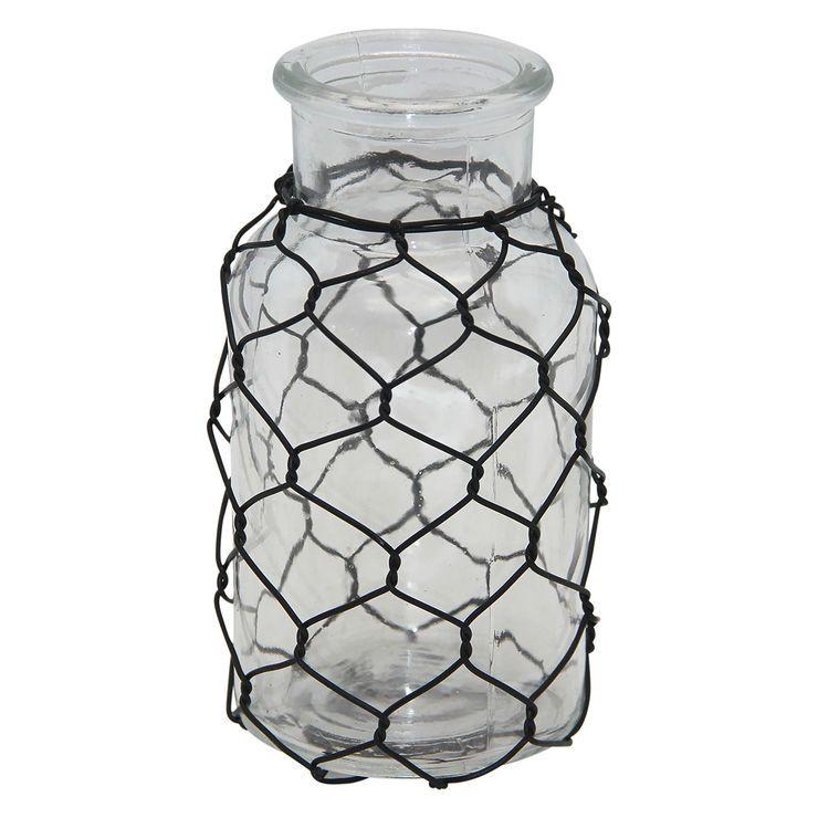 5IN GLASS JAR W CHICKEN WIRE | out door decor | Pinterest ...