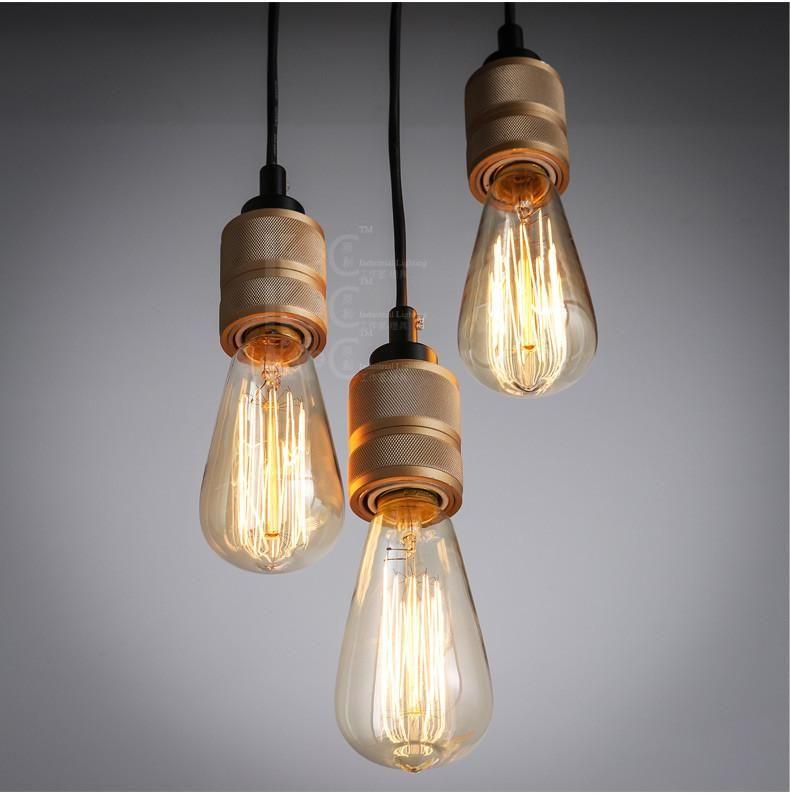 Hooked Industrial Brass Single Bare Edison Bulb Pendant Light Bulb Pendant Light Edison Bulb Pendant Light Edison Bulbs Pendant