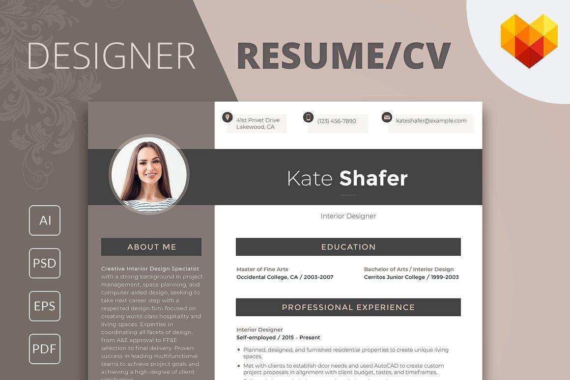Editable Resume Interior Designer Editable Resume Resume Design Template Interior Design Resume