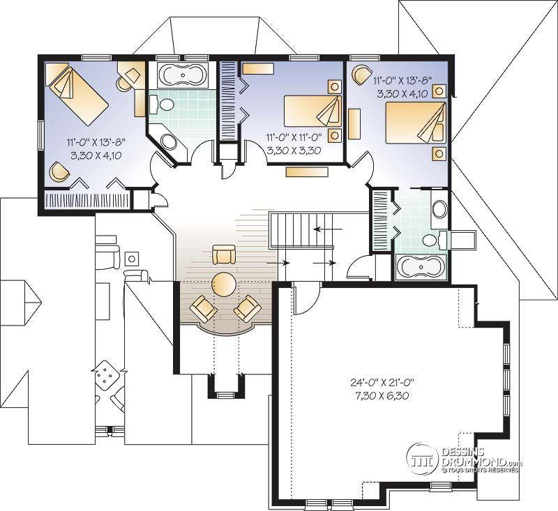 Détail du plan de Maison unifamiliale W3430 Idées pour la maison