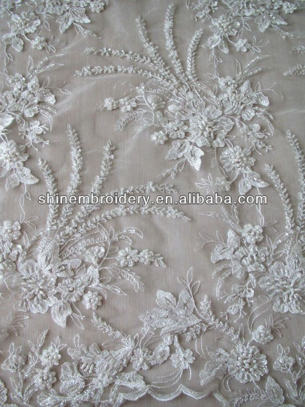 Fancy White Embroidery Lace Tulle Fabric With Heavy Beaded Sequined For Wedding Dress