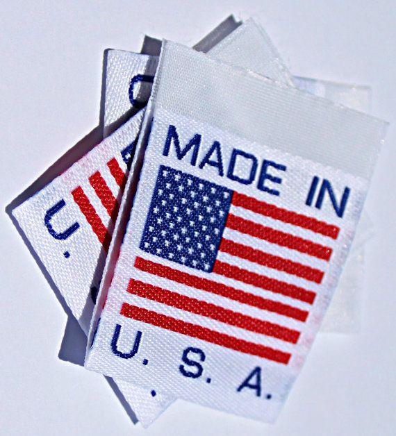 86e5042dd064 Wunderlabel Made in USA Flag America American Label Tag Woven Craft ...