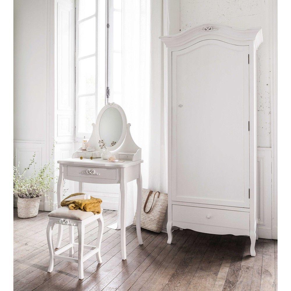 coiffeuse blanche avec tabouret maisons du monde