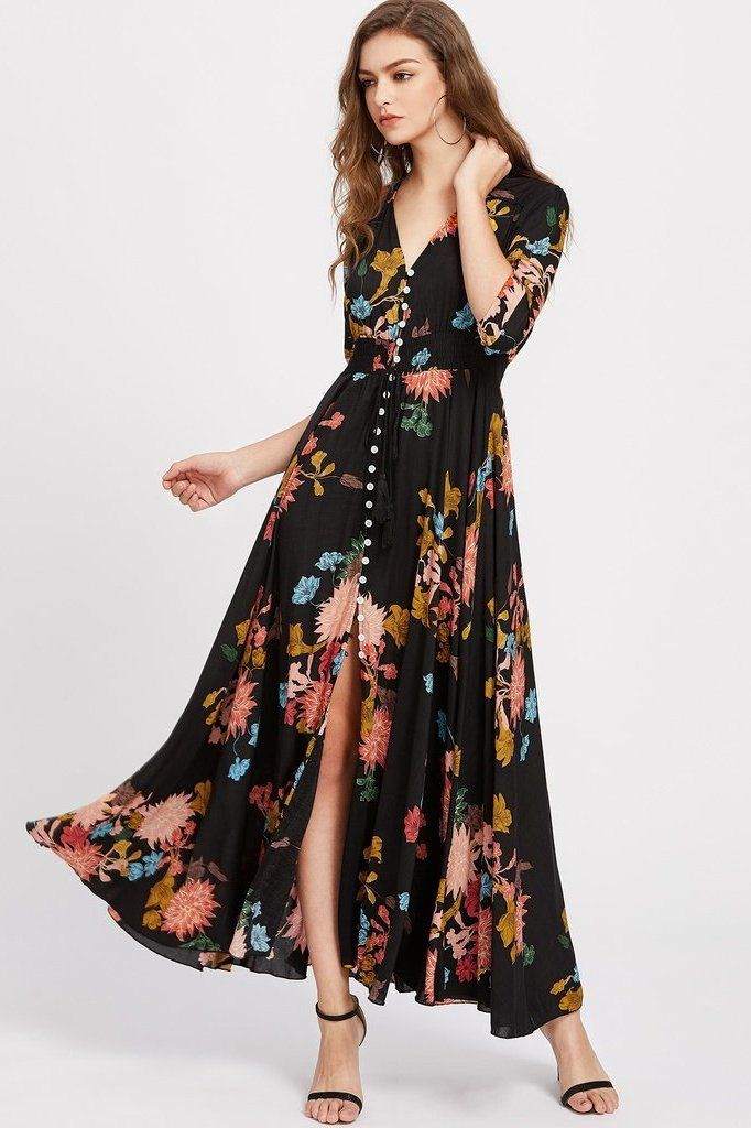 c3ce4f47c3b92 Floral Springs Maxi Dress | Les Vêtements | Button up maxi dress ...
