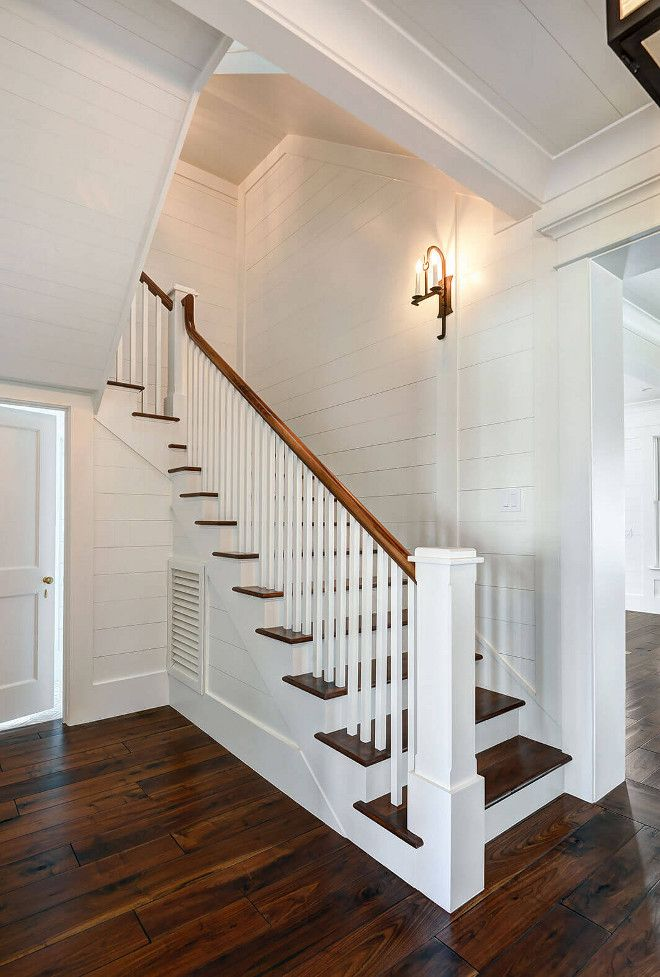 Best Shiplap Entry Staircase With Shiplap Wall Board And 400 x 300