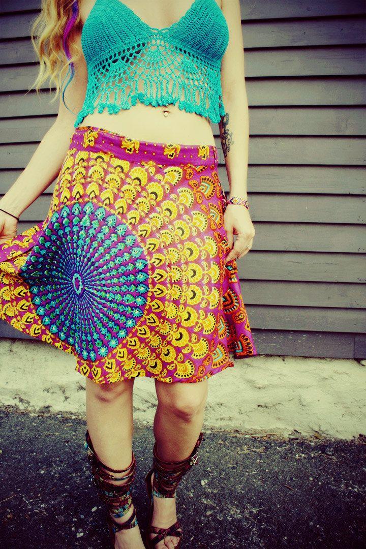 Mini Wrap Skirt, Peacock Hippie Skirt, ]