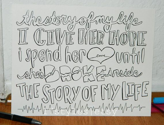 story of my life | Lyric drawings, One direction quotes ...