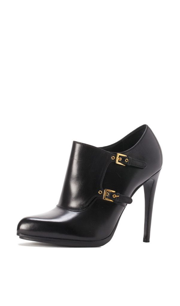 TOM FORD Leather Double-Monk Booties in Black with gold buckle accents. #trendy