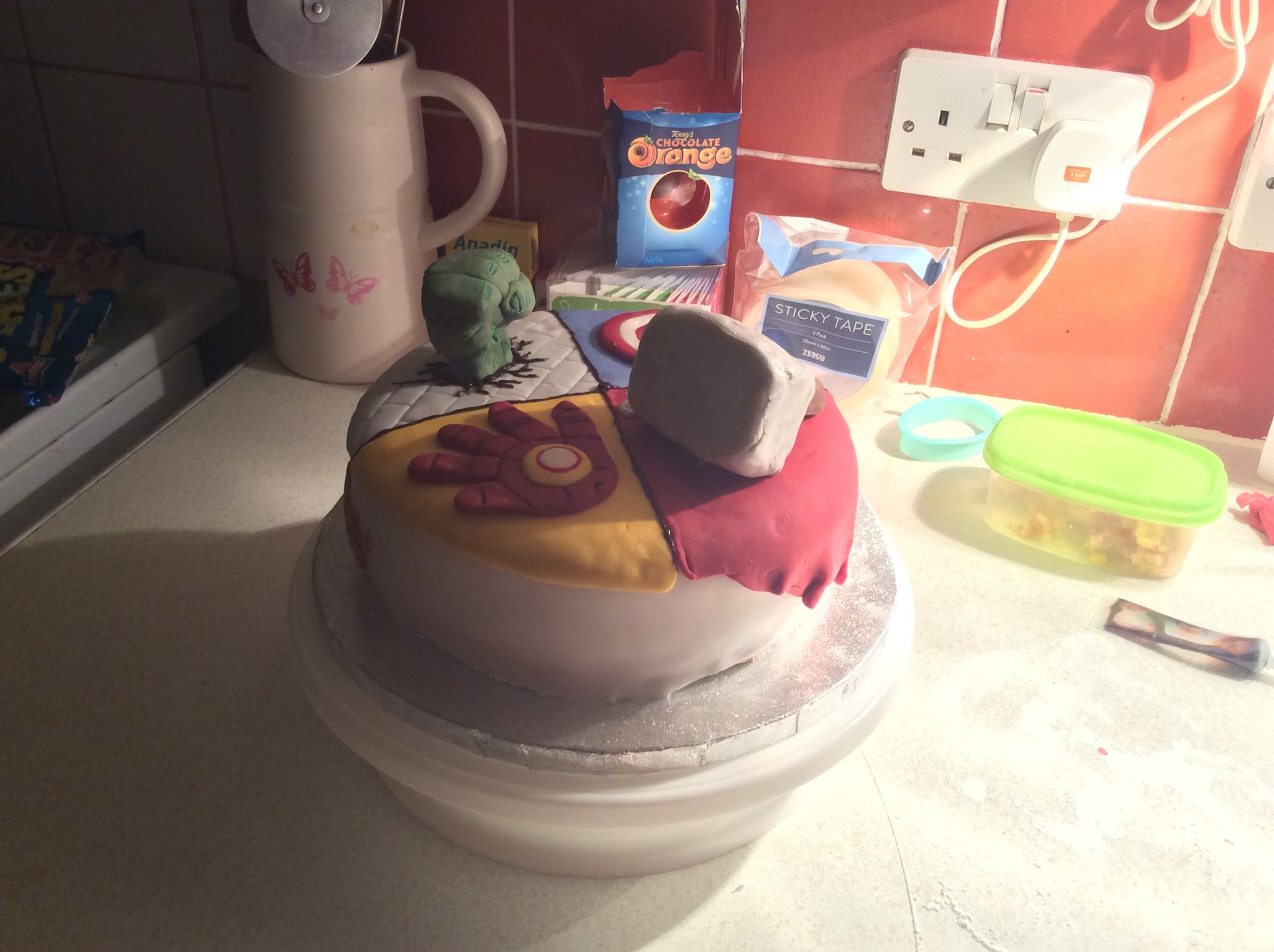 Homemade Avengers Birthday cake for my son cakes Pinterest