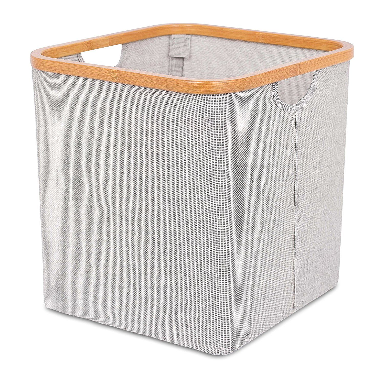 Amazon Com Birdrock Home Soft Sided Square Storage Bins Cube Storage Organizers With Bamboo Rim Grey Home Amp Kitchen Cube Storage Storage Bins Bins