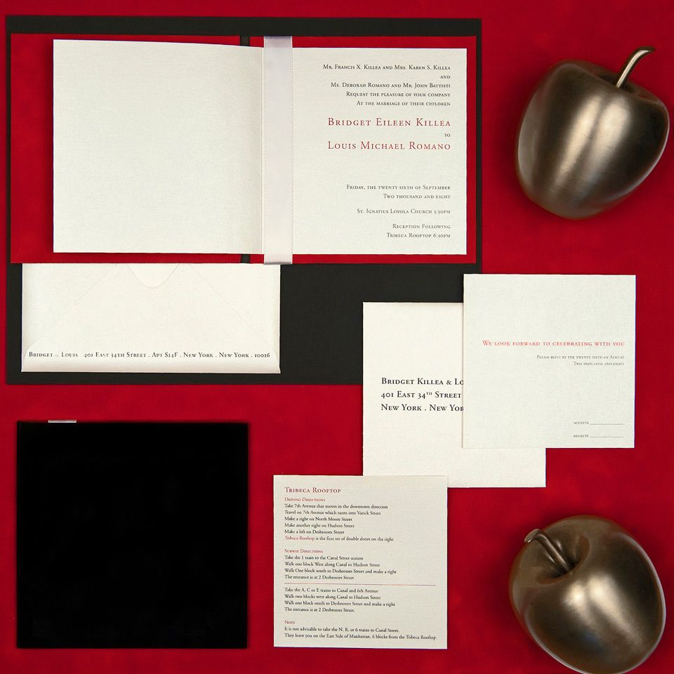 velvet book invite, black + red velvet paper, white metallic paper ...