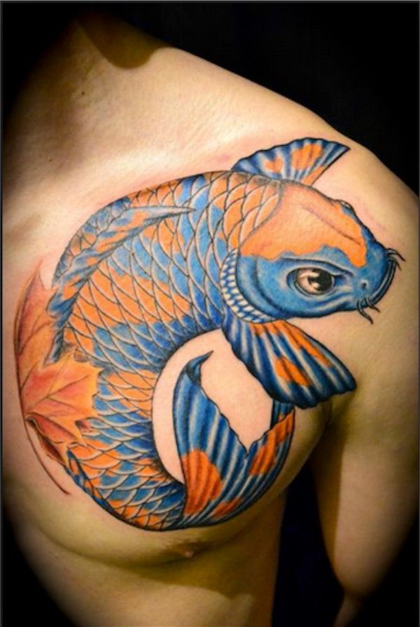 Blue and orange koi try other colors for your koi for Color chest tattoos