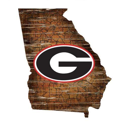 Georgia Bulldogs Uga Wall Art Vintage State Map Logo Sign State Wall Art Logo Wall Georgia Bulldogs