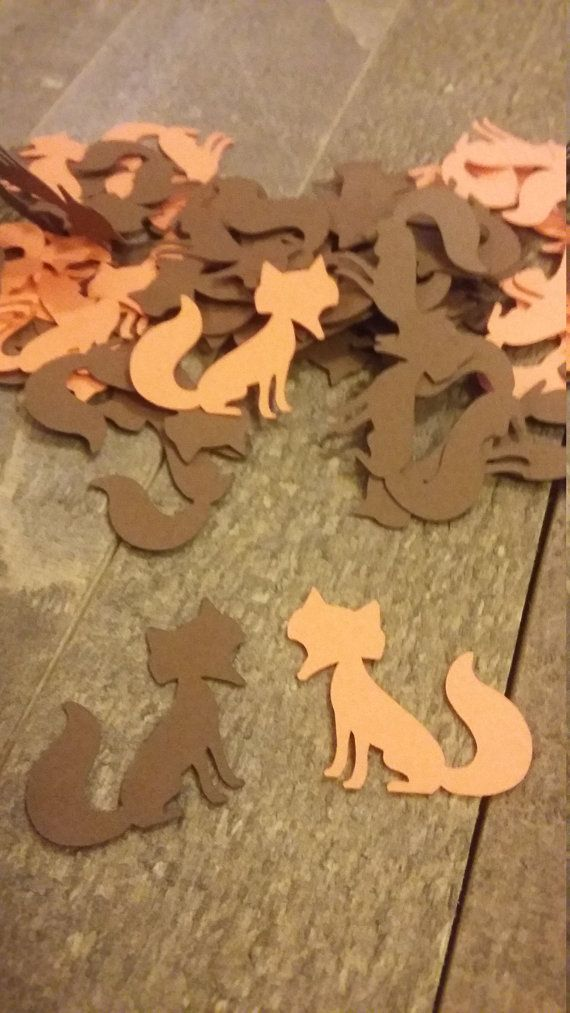 Orange and Brown Fox Table Confetti / Woodland Forest Critter Animal Scatter Decor Decoration Birthday Baby Shower Party 100 Pieces