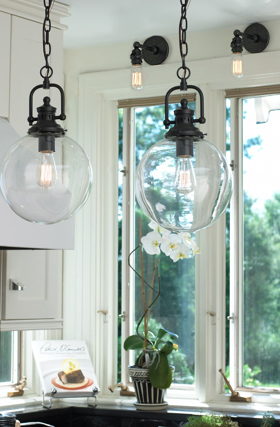 Clear Glass Globe Industrial Pendant Kitchen Pendant Lighting