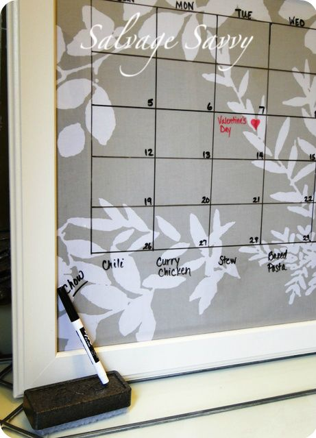 I really like this DIY dry erase calendar from Salvage Savy