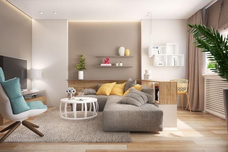 Wohnzimmer in Taupe und Grau mit gelben Akzenten mit Arbeitsplatz ...