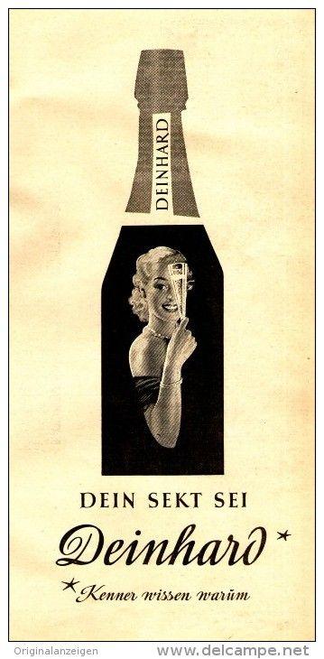 original werbung anzeige 1958 dein sekt sei deinhard. Black Bedroom Furniture Sets. Home Design Ideas
