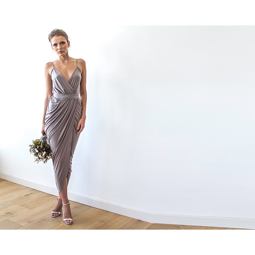 Taupe wrap dress maxi dress taupe gray bridesmaid dress formal taupe wrap dress maxi dress taupe gray bridesmaid dress formal dress party ombrellifo Image collections