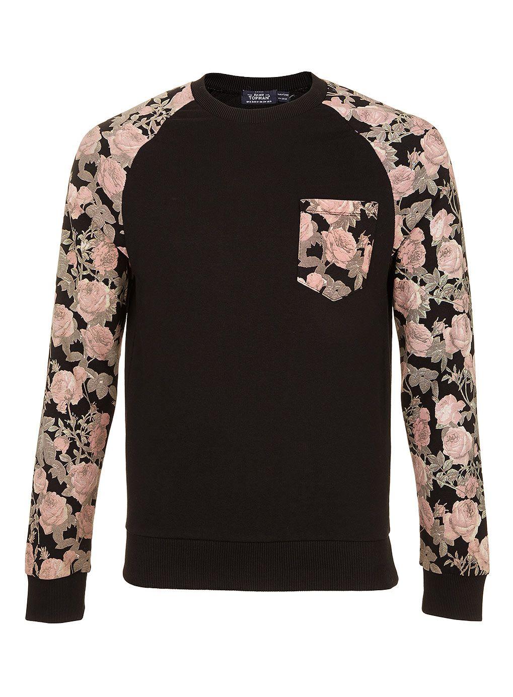 Black Rose Sleeve Patterned Sweatshirt - Men's Sweatshirts - Clothing -  TOPMAN