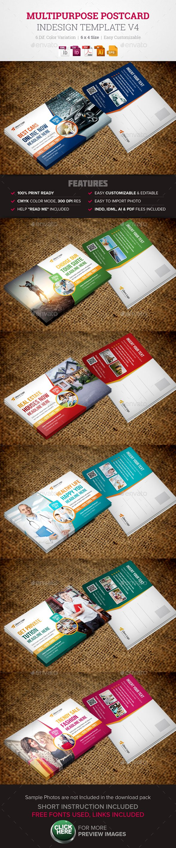 Postcard InDesign Template v4 - Cards & Invites Print Templates ...