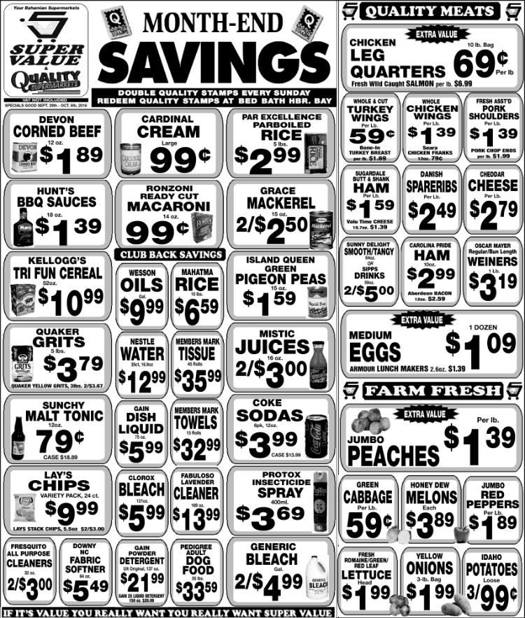 Hurry Month End Savings At Super Value Quality Supermarkets Qualitymeat Farmfresh Bahamas Nassau Shurfine Rainbow Grape Grocery Items