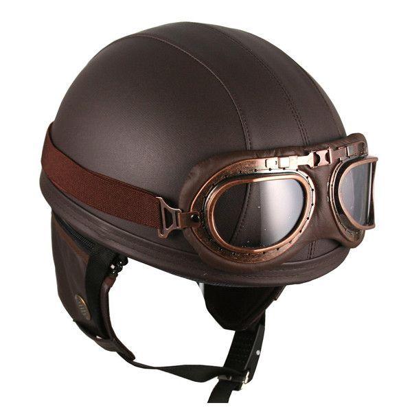The Vintage Leather Brown Biker Helmet By Hanmi Is The Coolest Looking Head Protector You V Leather Motorcycle Helmet Vintage Helmet Motorcycle Helmets Vintage