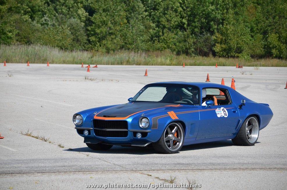 Bob Bertelsen\'s OPTIMA-sponsored Brute Force Camaro on the autocross ...