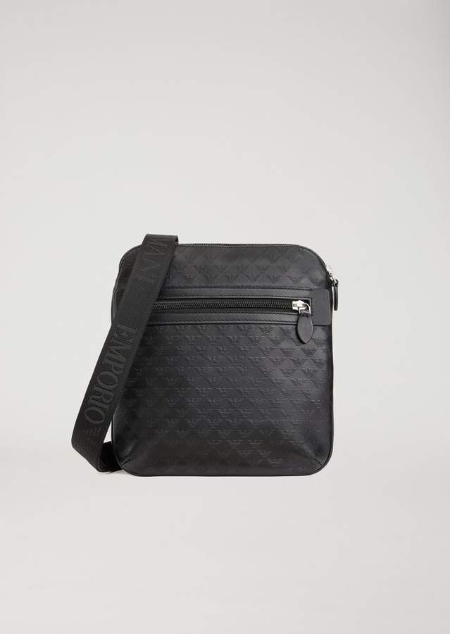 97260b31fde Emporio Armani Leather Messenger Bag With Shoulder Strap And All ...