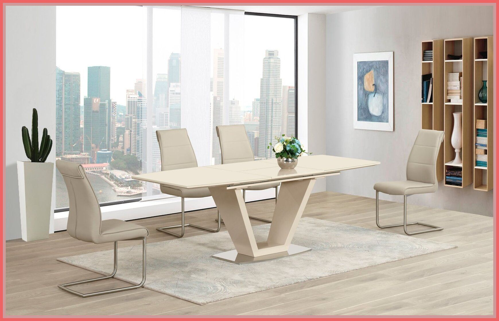 52 reference of glass dining table and chairs cream in