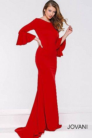 52cb303dbd4 Red Bell Sleeve Long Dress 40544