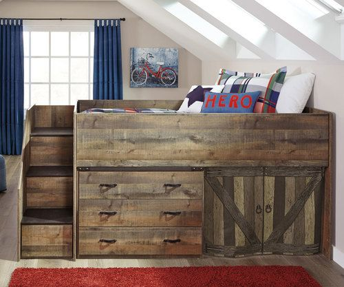 Trinell Low Loft Bed With Dresser And Fort Low Loft Beds